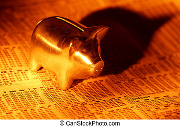 Market - Photo of a Piggy Bank and Stock Quotes