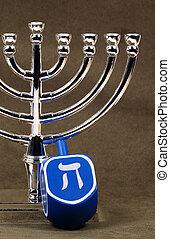 Hanukkah - Menorah and a Dreidel