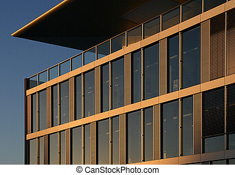 Corporate building in the sunset - Corner of a corporate...