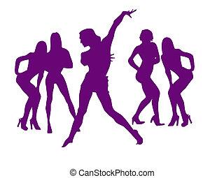 dança, excitado, meninas, Novo, anos