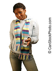 Calling W/ Clipping Path - A teenage girl with a cell phone....