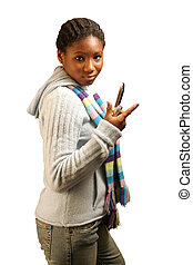 Flip W/ Clipping Path - A teenage girl flipping open a cell...