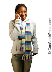 Funny W/ Clipping Path - A teenage girl on a cell phone...