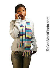 Thinking W/ Clipping Path - A teenage girl with a quizzical...