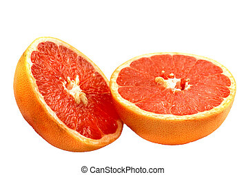 Pink Grapefruit halves over white