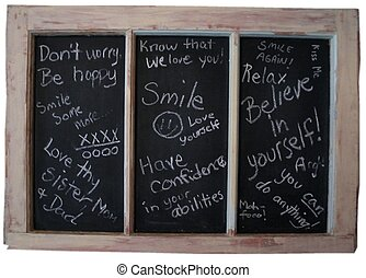 Encouraging words - Words of encouragement written on a...