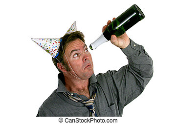 Out Of Champagne - A man wearing two party hats and looking...