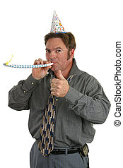 Office Party Thumbs Up - A man at a party with a party hat...