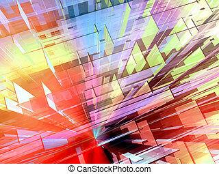 Constructive urban space 2 - Dynamic dense mesh of colorful...