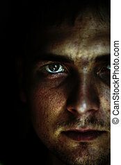 abstract view of man - mans face isolated on a black...