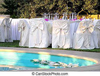 banquet wedding 3 - wedding reception by the pool, water...