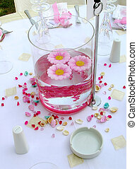 wedding decoration - table centerpiece, at wedding reception
