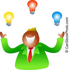 juggling bulbs - businessman juggling with ideas