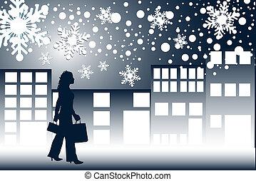 Christmas shopping at night