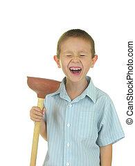 Plunger Kid - Boy holdng a plunger