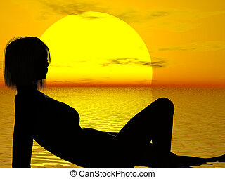 Sunset Nude - Reclining nude at sunset