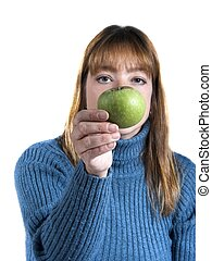 for-you - woman isolated with apple,focus on apple
