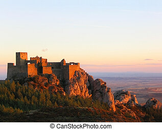 Loarre Castle at sunset - Loarre Castle (Aragon, Spain)....