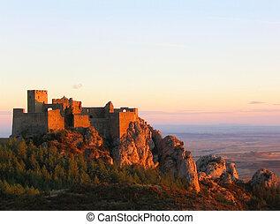 Loarre Castle at sunset - Loarre Castle (Aragon, Spain)....