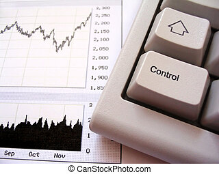 Stock chart and keyboard, control key in foreground