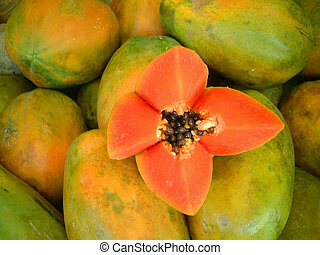 papaya cut in flower shape
