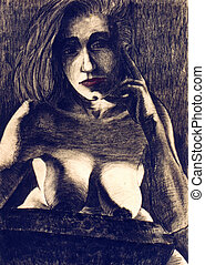 Woman in chair - Naked woman - Person is imagination, face...