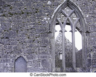 old church window - window of historic church ruins near...