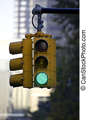 Traffic light on green, Manhattan, New York, America, USA