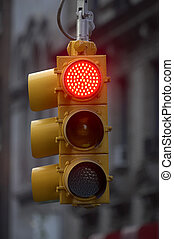 Traffic light on red, Manhattan, New York, America, USA