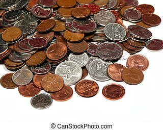 Canadian coins 5 - Pile of canadian coins isolated on white...