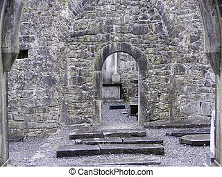 old church interior - interior of old church ruins in county...