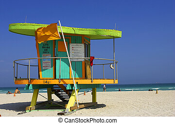 Lifeguard station, miami beach, florida, america, usa