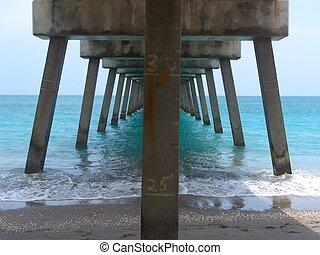 Florida Pier - underneath Florida pier - blue ocean