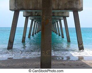Florida Pier - underneath Florida pier - blue ocean