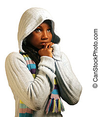 Prayer W/ Clipping Path - A teenage girl praying. Isolated...