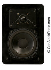 speaker in full view - black stereo speaker in full view on...