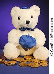 teddy bear ready for - white teddy bear with dreidel ready...