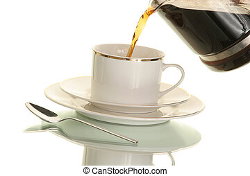 cup of hot coffee - pouring a cup of hot coffee from a...