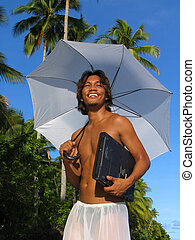 Asian boy w laptop - Asian boy under umbrella and with...