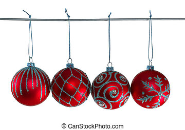 Red christmas balls with ornament