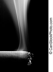 cigarette smoke - macro over black, converted to black and...