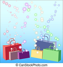 Shopping galore - Shopping bags with stars