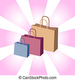 Shopping bags on retro background
