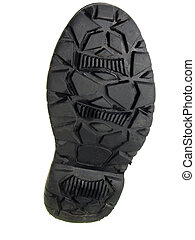 Boot sole - Used boot sole over white background with...