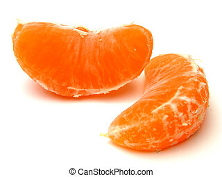 Orange pieces - Two orange pieces over white background with...