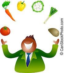 juggling vegetables