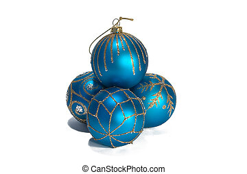 Blue christmas balls with ornament