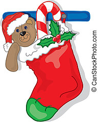 Christmas stocking - Vibrant and colorful illustration of a...