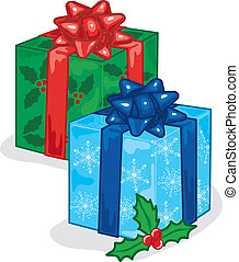 Christmas presents - Vibrant and colorful illustration of a...