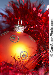 christmas ball with tinsel - orange christmas tree ball with...
